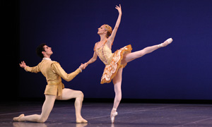 Ponmarenko with Carlos Molina (DSC 0262) in George Balanchine's Divertimento No. 15; photo by Eric Antoniou