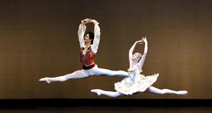 Larissa Ponomarenko and Nelson Madrigal in Don Quixote pas de deux; photo by Gene Schiavone